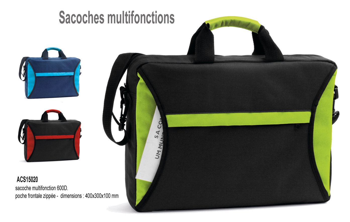 sacoche publicitaire multifonctions, sacoche porte-documents publicitaire, objets publicitaires, cadeaux, salon, meeting,  promotions