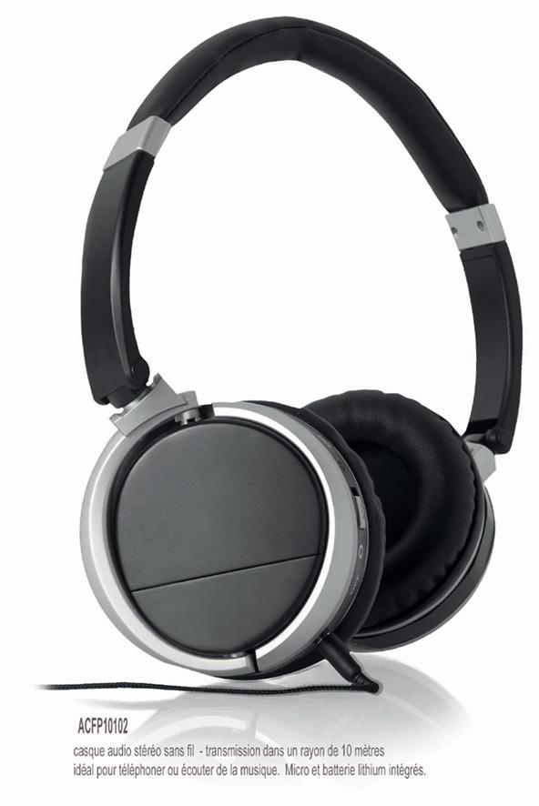 Lecteur mp4 casque sans fil publicitaire high tech - Porte casque audio ...