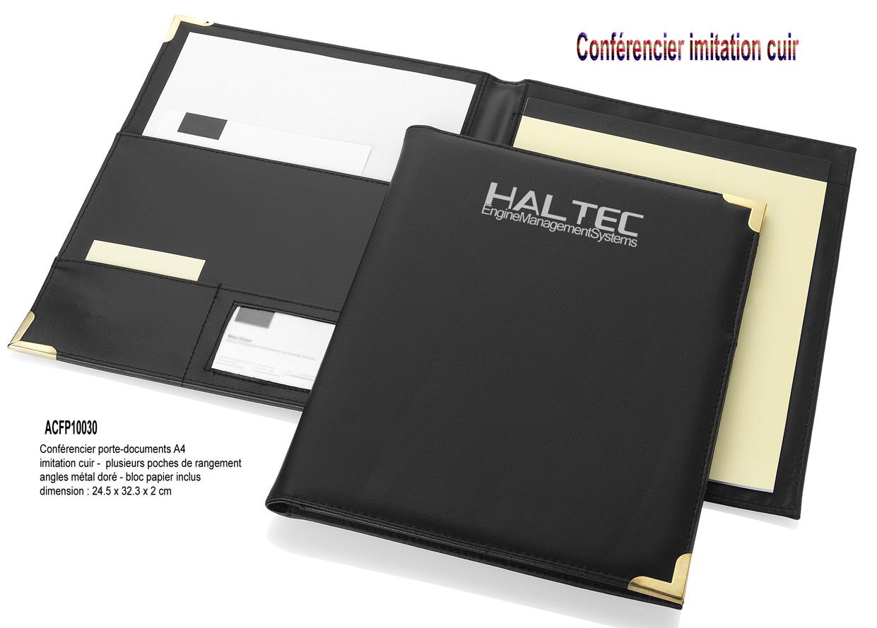 Conférencier Publicitaire Conferencier Cuir AIC Créations - Porte document personnalisé