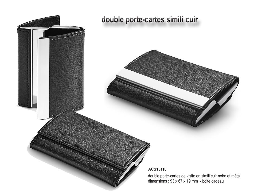Double Porte Cartes Simili Cuir Et Metal Livre En Boite Cadeau