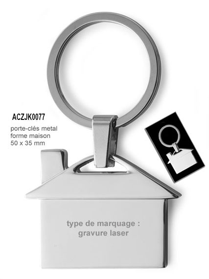 porte-clés métal forme maison · ACJZK-077- gravure laser 1 face + Frais  techniques inclus x 500 1.36 € x 1000 1.25 € HT 312a07f3c0a