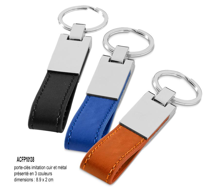 28d67474eaff porte-cles publicitaires simili cuir et metal, porte-clés simili cuir et  metal